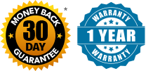 30 Day Money Back Guarantee and 1 Year Warranty